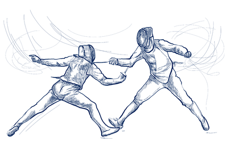 Competitive FENCING - Two sportmen, athletes in a match. An hand drawn illustration. Freehand sketching, drawing of an sporting event. Line art in blue colour isolated on white. Stok Fotoğraf