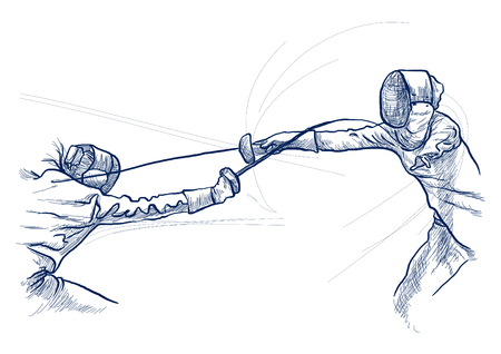 Competitive FENCING - Two sportmen, athletes in a match. An hand drawn illustration. Freehand sketching, drawing of an sporting event. Line art in blue colour isolated on white. Stok Fotoğraf - 115906313