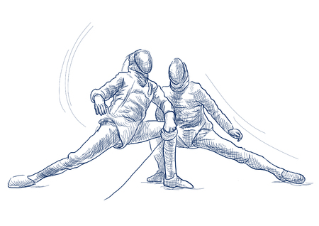 Competitive FENCING - Two sportmen, athletes in a match. An hand drawn illustration. Freehand sketching, drawing of an sporting event. Line art in blue colour isolated on white. Banco de Imagens