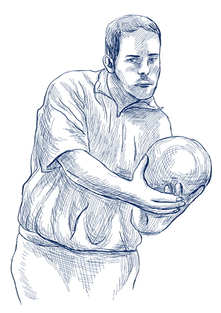 BOWLING - An sportman. An hand drawn illustration in retro, vintage style. Freehand sketching. Drawing of an sporting event. Blue line art on white background. Isolated.