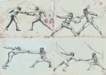 Competitive FENCING. Vector collection, pack. Two sportmen, athletes in a match. An hand drawn illustration. Freehand sketching, drawing of an sporting event. Stok Fotoğraf - 117009382