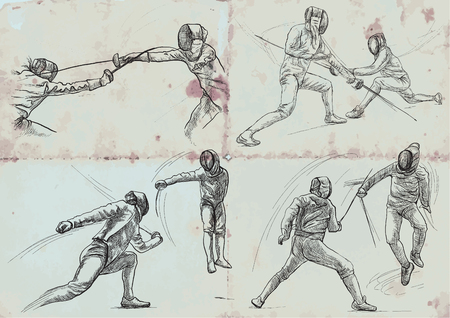 Competitive FENCING. Vector collection, pack. Two sportmen, athletes in a match. An hand drawn illustration. Freehand sketching, drawing of an sporting event. Stok Fotoğraf - 117009385