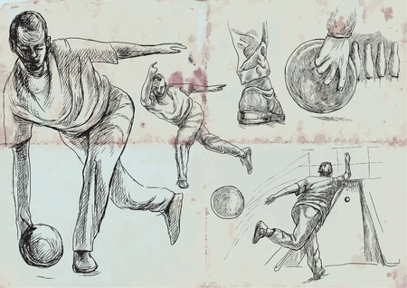 BOWLING - An sportmen. An hand drawn VECTOR collection. Illustrations in retro, vintage style. Freehand sketching. Drawing of an sporting event. Blue background - an old paper.