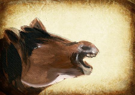 Pferd. Ein Handgemälde - mittelalterliche Inspiration. Vintage-Nachbearbeitung.