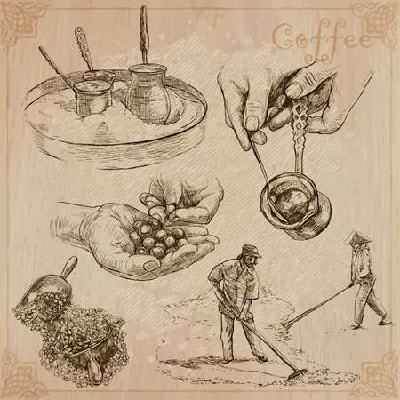 COFFEE. Agriculture. Life of a farmer. Coffee harvesting and processing. Collection of an hand drawing illustrations. Pack of vector illustrations, line art. Set of freehand sketches.