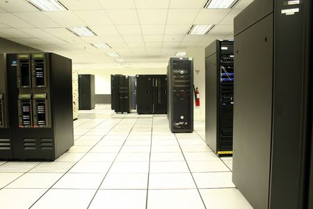 Tape drives and server racks in Data Center