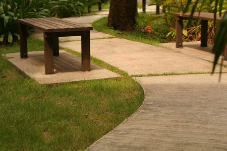 Wooden benches photo