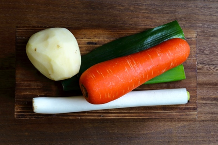 green onions: Carrots and green onions and potatoes.