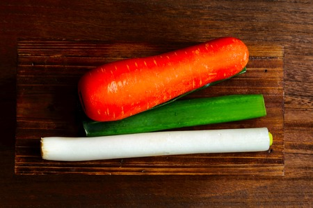 green onions: Carrots and green onions