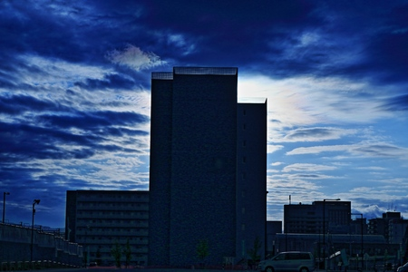 jct: Dark clouds and Building. Before sunset.