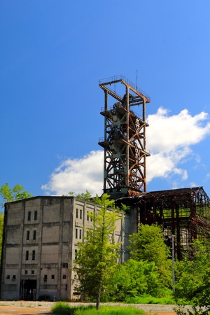 turrets: Old Ponbetsu coal mine. tourist spot. Geopark. Tower of the vertical shaft.