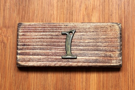room door: Number 1.Number is inexpensive and mass-produced goods. Number of antique style. I imagined the room number of the door.