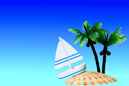 Yacht and shell. Yacht and Palm of 100 yen shop product.