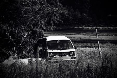scrapped: Van type of car that became scrapped Van-type car. Cargo doc structure of van. Stock Photo