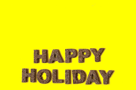 alphabetic character: HAPPY HOLIDAY Stock Photo