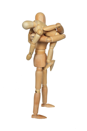 two faced: Parent-child piggyback. ride on shoulders. Stock Photo