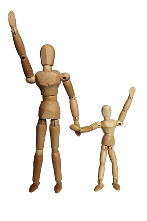 lifted: The hand is lifted with the parent and child. Stock Photo