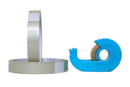adhesive: Adhesive tape. Tape dispenser. Stock Photo