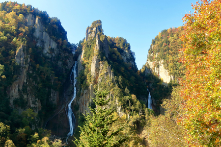 Autumn Soubakudai. It was taken from the vicinity of the middle of the Sobakudai. Soubau?eai the place to see the two of the waterfall. Ginga Falls and Ryusei waterfall. The Japanese name of the waterfall