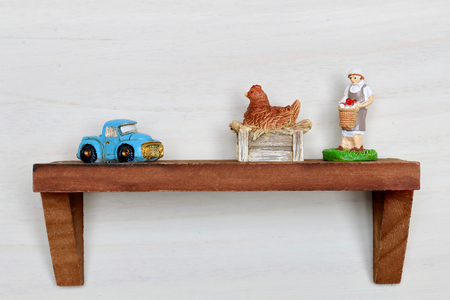 private room: Wall shelf, agricultural woman and chicken