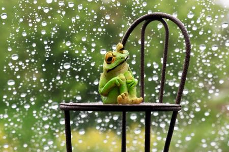 Pioggia e rane e sedie