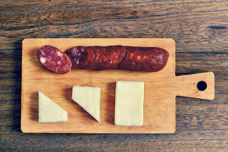 Dry sausage and cheese