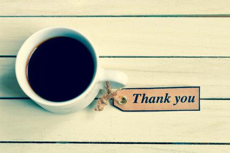 コーヒーと自己作ったタグthank you