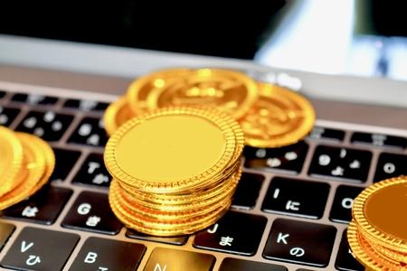 仮想通貨とコンピュータ 写真素材