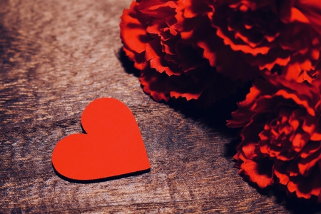 Artificial flowers of carnation and Heart