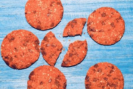 Nuts-filled chocolate cookies 写真素材