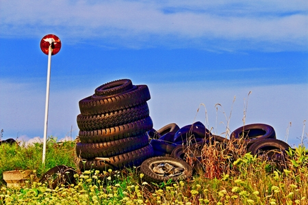 Illegal dumping of tires 写真素材