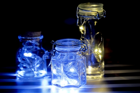 Lighting in the bottle and I put a light emitting diode in the bottle