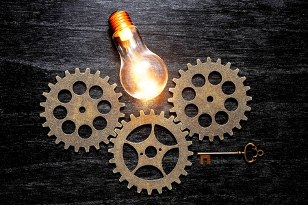 gears and light bulb