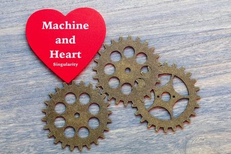 Machine and Heart. AI Singularity. Banco de Imagens