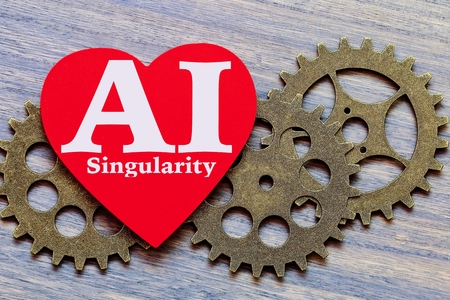 Machine and Heart. AI Singularity. 写真素材