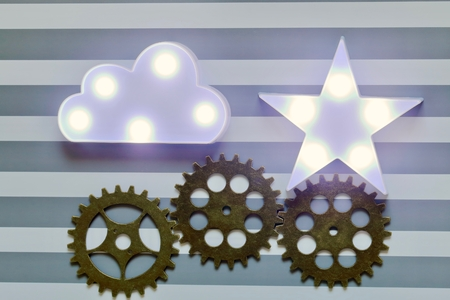 Marquee lights and gears 写真素材