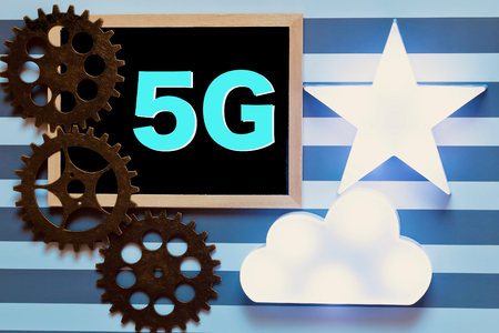 5G and gear on stripe