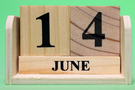 14th June  on Wooden Banque d'images