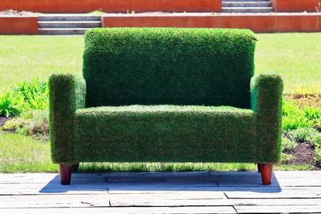 Green sofa background.