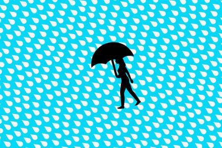 Heavy rain and people holding umbrellas