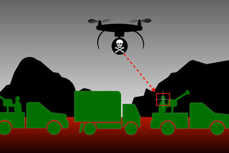 Drone strikes Attack with drone weapons Banque d'images