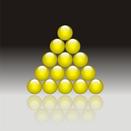 poolball: Fifteen glass balls, vector illustration