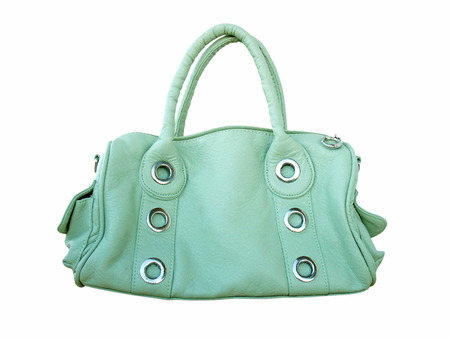 Modern green female bag on a white background Stock Photo - 2159011