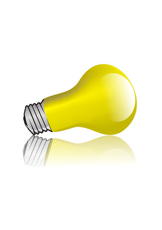Yellow lightbulb isolated on white [with clipping path] photo