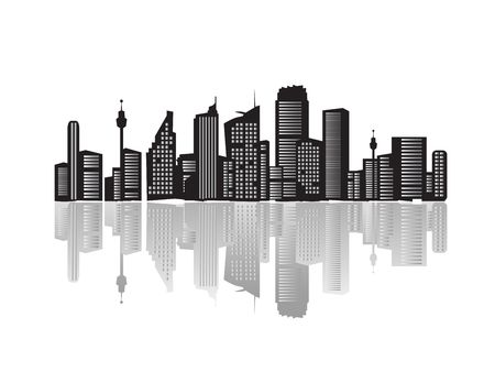 business life line: City landscape, silhouettes of houses black  Stock Photo