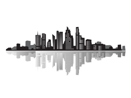 urban life: City landscape, silhouettes of houses black  Stock Photo