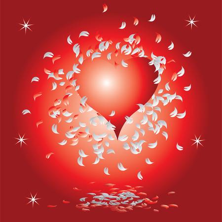 Heart, valentine grunge background Vector