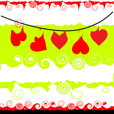 Valentine frame with place for your text, Hearts hang on a cord Vector