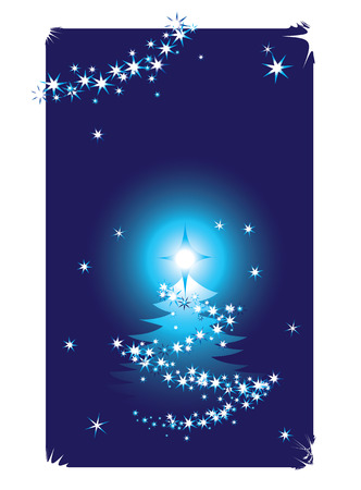 Abstract winter background with christmas tree Vector
