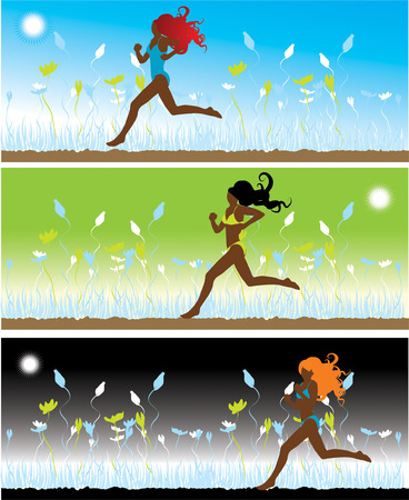 The girl in bikini runs on a grass, 3 illustrations Stock Vector - 2531225